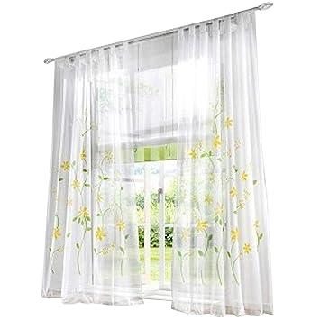 BAILEY JO 1Pièce Rideau Voilage Transparant avec Impression Fleurs Rideaux à  Pattes Décoration de Fenêtre Chambre 02d5196a34df