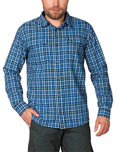 Jack Wolfskin Herren Hemd Crossley Shirt M, Moroccan Blue Checks, XXL, 1401871-7269006