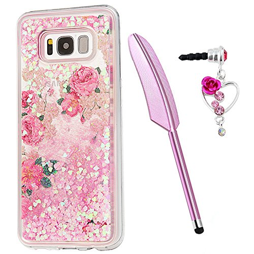 S8 Plus Case, Galaxy S8 Plus Case, Liquid Glitter Quicksand Cover Red Rose Flowers Bling Shiny Flowing Moving Pink Love Heart Bumper Clear Slim Protective TPU Girls Shell with Stylus Plug Dust ZSTVIVA -