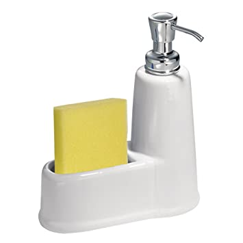 Perfect InterDesign York Kitchen Ceramic Soap Dispenser And Sponge Caddy Countertop  Organizer   White/Chrome
