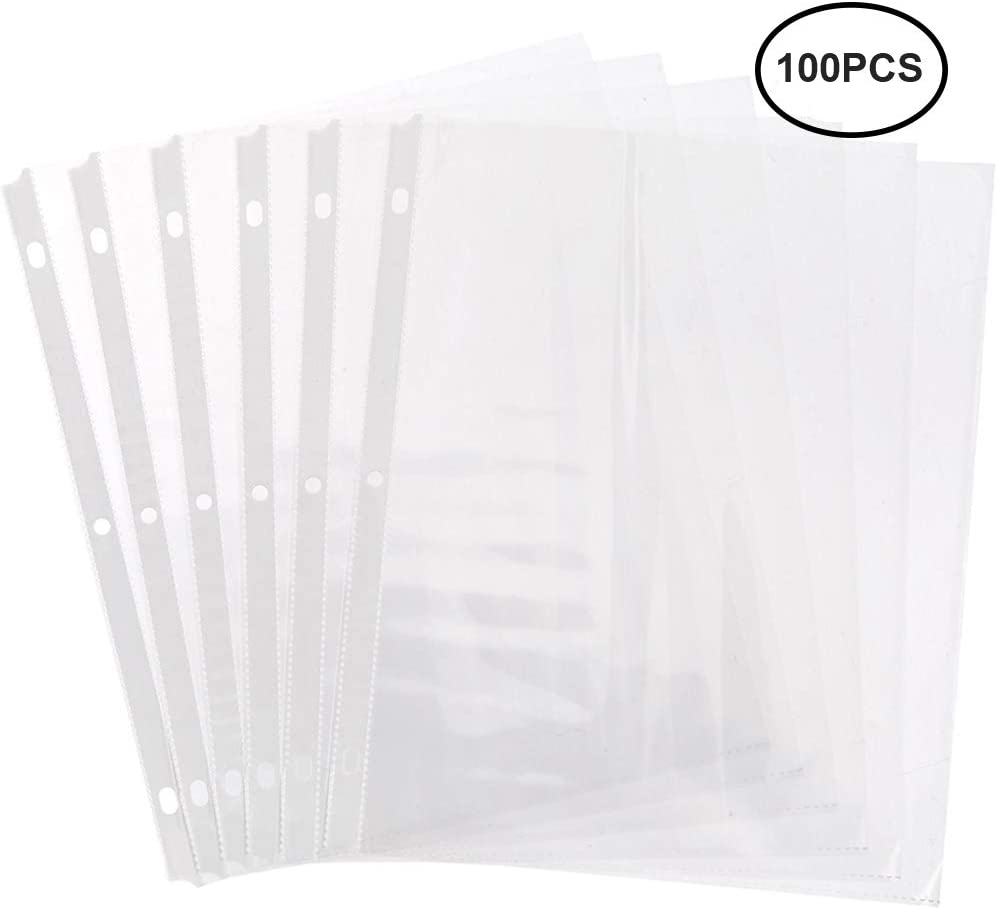Page Protectors 8.5 x 11 Sheet Protectors 100PCS Top Loading Page Protectors fits 3 Ring Binder Plastic Clear-Sheet-Protectors-Page-Protectors for 3 Ring Binders