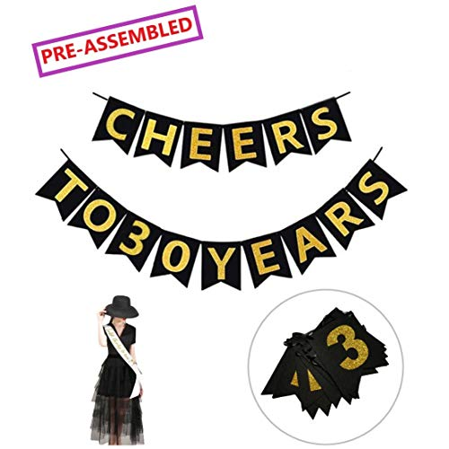30th Birthday Decorations - Cheers to 30 Years Black and Gold Banners with Bonus
