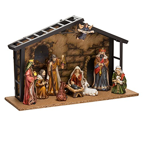 - Kurt Adler Porcelain 10-Piece Nativity Set, 3.5-Inch to 5-Inch