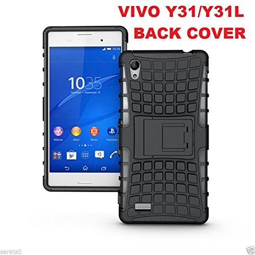 save off e7289 7ae37 Sun Tigers Vivo Y31/Y31L Hybrid Military Grade Armor Kick Stand Back Cover  Case (Black)