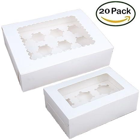 KAISHAN - Cajas para magdalenas (papel kraft, 12 y 6 compartimentos, incluye caja