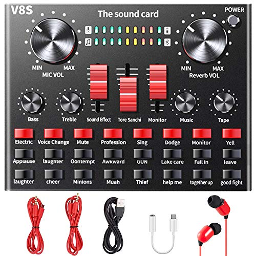 Live Sound Card, ALPOWL Voice Changer with Multiple Sound Effects, V8S Sound Mixer for Live Broadcasting Karaoke Singing Recording Gaming on Mobile Phone, iPhone, Computer, Laptop, Tablet