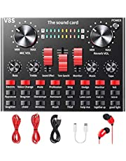 $35 » Live Sound Card, ALPOWL Voice Changer with Multiple Sound Effects, V8S Sound Mixer for Live Broadcasting Karaoke Singing Recording Gaming on Mobile Phone, iPhone, Computer, Laptop, Tablet