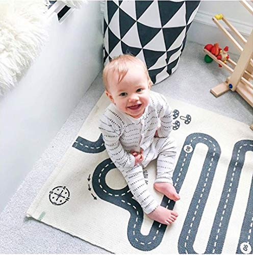 Extpro Children Area Rug Baby Floor Racing Game Rug Foldable Crawling Game Play Mat for Kids Room Decor (Road1)