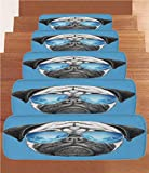 iPrint Non-Slip Carpets Stair Treads,Pug,Pug Portrait with Mirror Sunglasses Hand Drawn Illustration of Pet Animal Funny,Pearl Blue Black,(Set of 5) 8.6''x27.5''