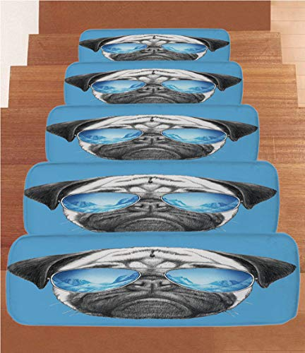 iPrint Non-Slip Carpets Stair Treads,Pug,Pug Portrait with Mirror Sunglasses Hand Drawn Illustration of Pet Animal Funny,Pearl Blue Black,(Set of 5) 8.6''x27.5'' by iPrint