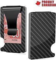 Carbon Fiber Wallet, Credit Card Holder RFID Blocking, Polished Black Money Clip