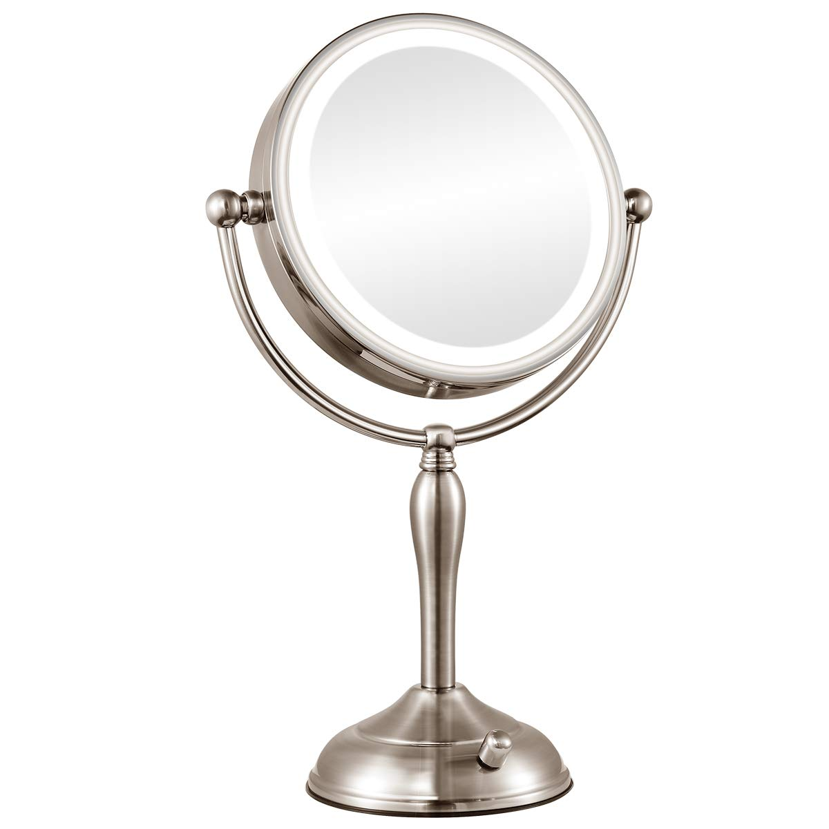 Orange Tech 8 inch 1X/10X Magnifying Lighted Makeup Mirror, Double Sided Magnification Vanity Mirror with Lights, Dimmable Natural Light, Rotate Button & Dual Power Supply