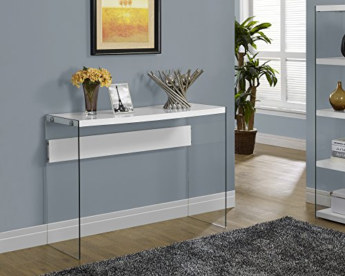 Monarch Specialties Glossy White Hollow-Core/Tempered Glass Sofa Table, 32-Inch