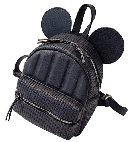 b225146590 Basilion Big Ear Cartoon Cute Girl MINI Bag Sweet Student Backpack (Black)