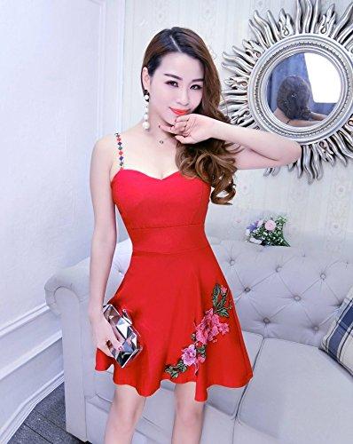 Rouge Imprimé Bretelle À Club Unique Fleur Robe Acvip Femme Mini Taille wUIYYqv