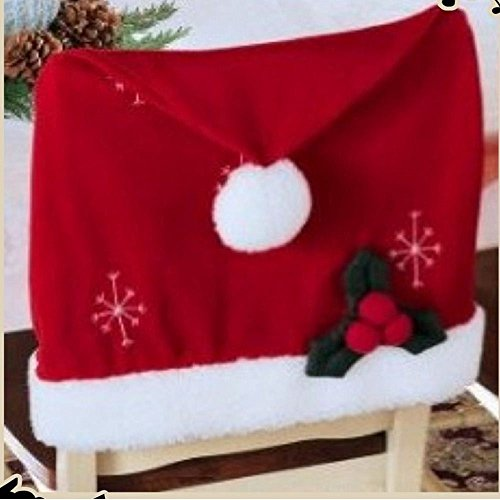 [Ieasycan Christmas Santa Hat Chair Covers Set of 2] (Dinining Set)