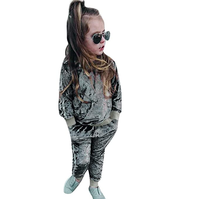 Kobay Kleinkind Kinder Baby M/ädchen Jungen Langarm Solide Tops Hosen Outfits Set Kleidung