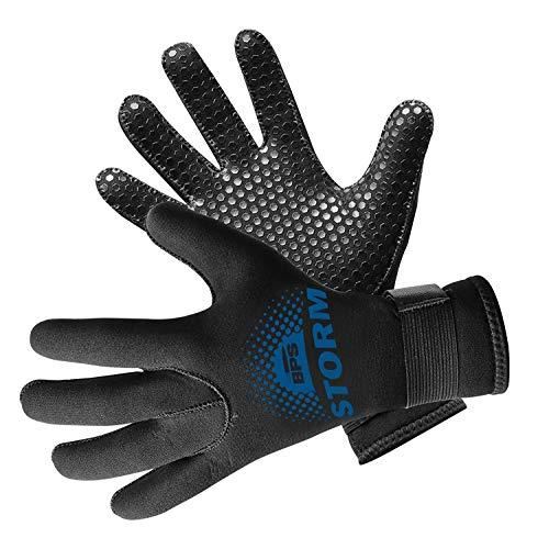 (BPS 5mm Neoprene Diving Gloves - Black w/Snorkel Blue Logo - M)