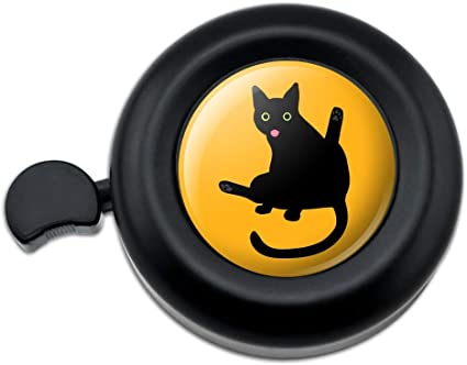 Black Cat Lifting Leg and Licking Bicycle Handlebar Bike Bell
