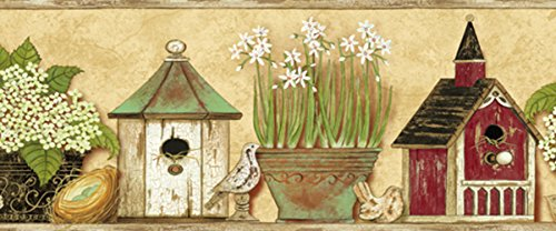 Potted Floral Wallpaper Border - Chesapeake PUR44563B Deedle Sand Sweet Homey Portrait Wallpaper Border