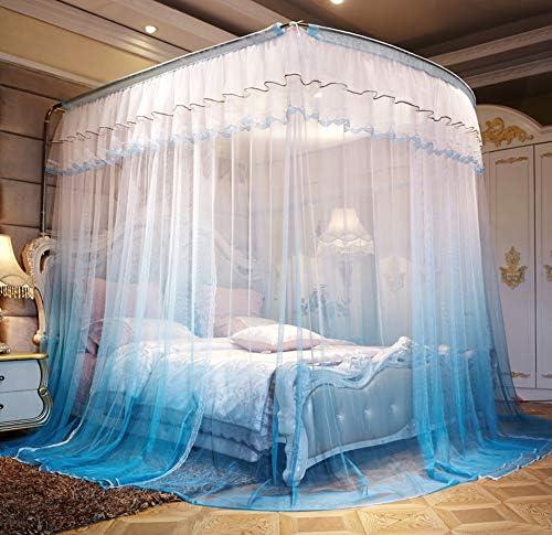 の-形 防蚊ネット,引き込み式 プリンセスベッドキャノピーグラデーション 裁判所のスタイル レース ステンレス鋼サポートが付いている暗号化糸のベッドのカーテン -a