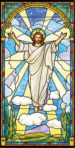 Stained Glass Risen Christ Church Banner - 2 1/2' x 5' Digitally Printed Canvas