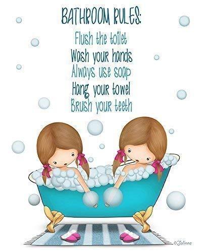 (Bathroom Rules Poster Typography Art Print Bath Kids Decor Girls Illustration 8