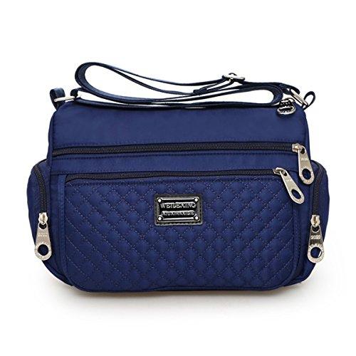 Lightweight Blue Bag messenger bags Resistant Handbag Zip Pockets Ladies Dark for Body Women Cross Water Crossbody Multi Shoulder Nylon Veriya WY7wngRzqH