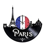 "BorschToday Paris Skyline Design Handmade Vinyl Record Wall Clock – Get unique living room, bedroom or nursery wall decor – Gift ideas for adults and youth ??"" City Of France Unique Modern Art Review"