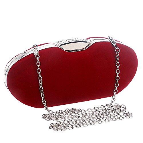 Sky Evening colore Clutch Suede Bag Fashion Rosso Ladies Soft Dress nero Banquet grow pTqErp