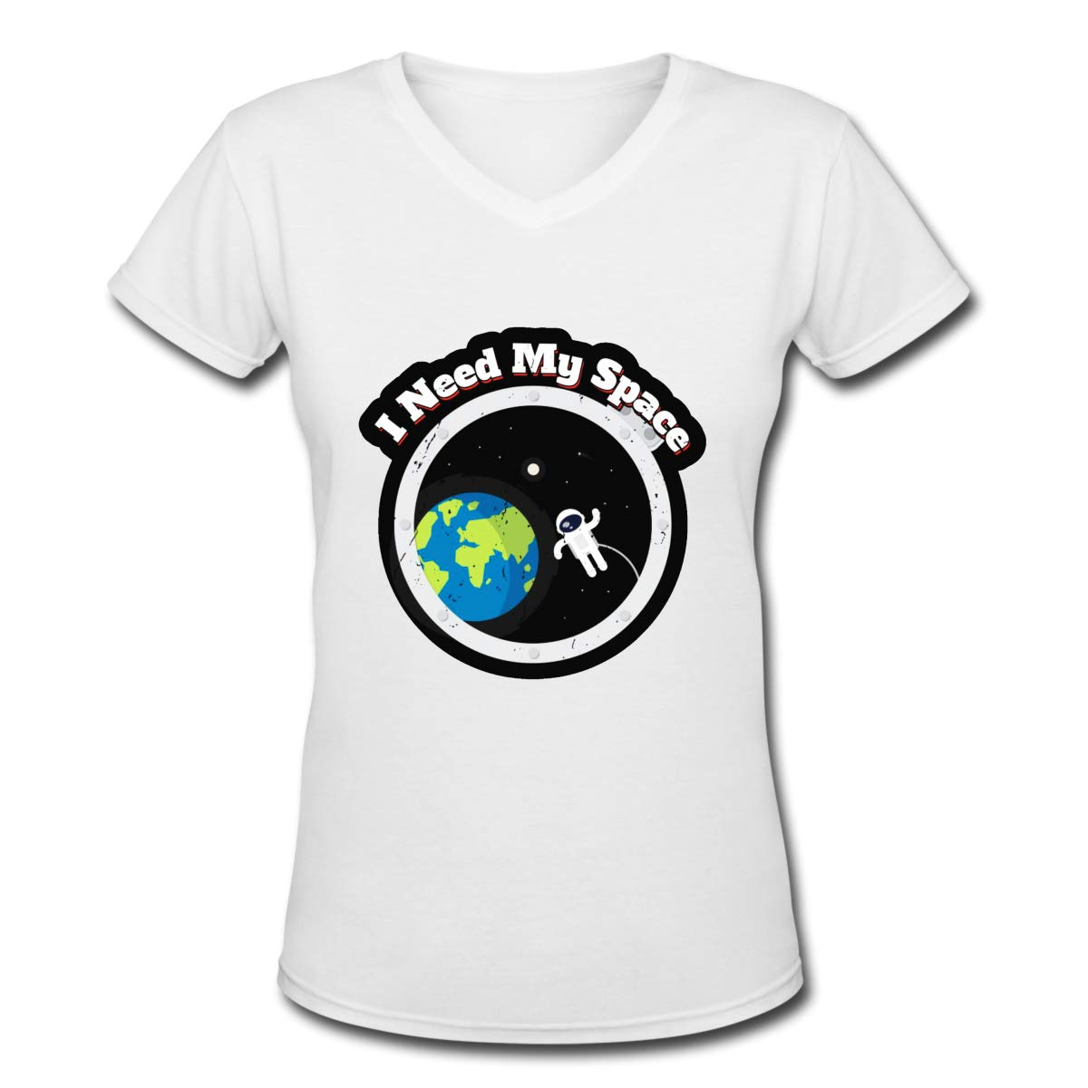 I Need My Space Womens T Shirt Casual Cotton Short Sleeve V-Neck Graphic T-Shirt Tops Tees