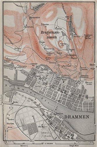 Amazon Com Drammen Antique Town City Byplan Norway Kart