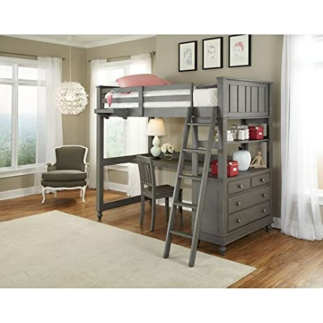 Amazon.com: NE Kids Lake House Twin Loft Bed with Desk in Stone ...