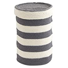 InterDesign Ellis Knitted Free Standing Toilet Paper Roll Holder for Bathroom Storage, Gray and Ivory