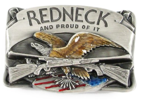 Pewter Belt Buckle - Redneck with Rifles - Pewter Belt Buckle
