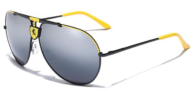8a4ce91be2 Amazon.com  Khan Full Mirror Lens Men s Retro 80 s Aviator Sunglasses   Clothing