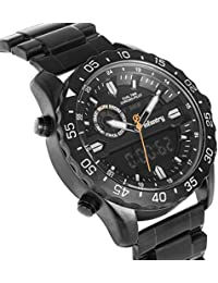 Big Face Mens Military Tactical Watch Black Stainless Steel Wrist Watches for Men Heavy Duty