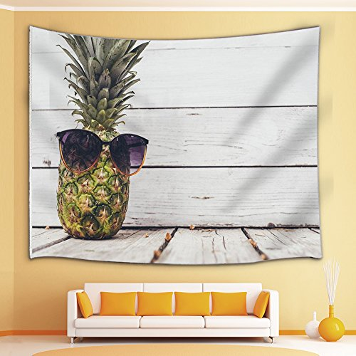 Pineapple Tapestry By JAWO Cool Pineapple With Sunglass On Wood Plank Wall Art Hanging for Bedroom Living Room Dorm 71X60Inches Wall Blankets, - Sunglass Art