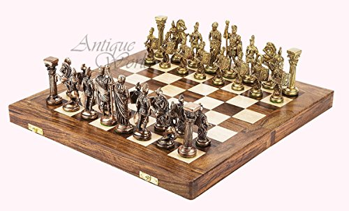 Antiques World Collector's Piece Heavy Brass 'Greek-Roman' Themed Chess King Set - Chess Figurines Including Folding Hand...