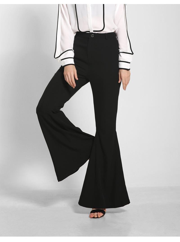 Unbekannt ZLL Damen Mode Horn Schweif Hose hoher Taille Damenhosen weites Bein, m