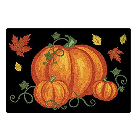 Cu0026F Home Pumpkin Patch Halloween Hooked Rug, 2u0027 X 3u0027 , Black