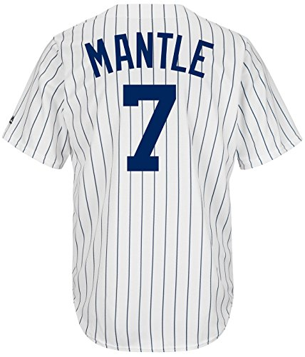 Mickey Mantle New York Yankees #7 MLB Men's Cool Base Cooperstown Collection Pinstripe Jersey (Small)