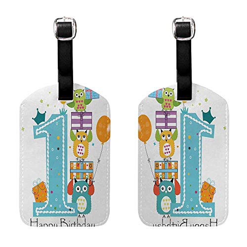 Tag Holder Zip 1st Birthday,First Cake with Candle Owls Family with Box Party Theme Print,Sky Blue Orange and Green Seal & Steel]()