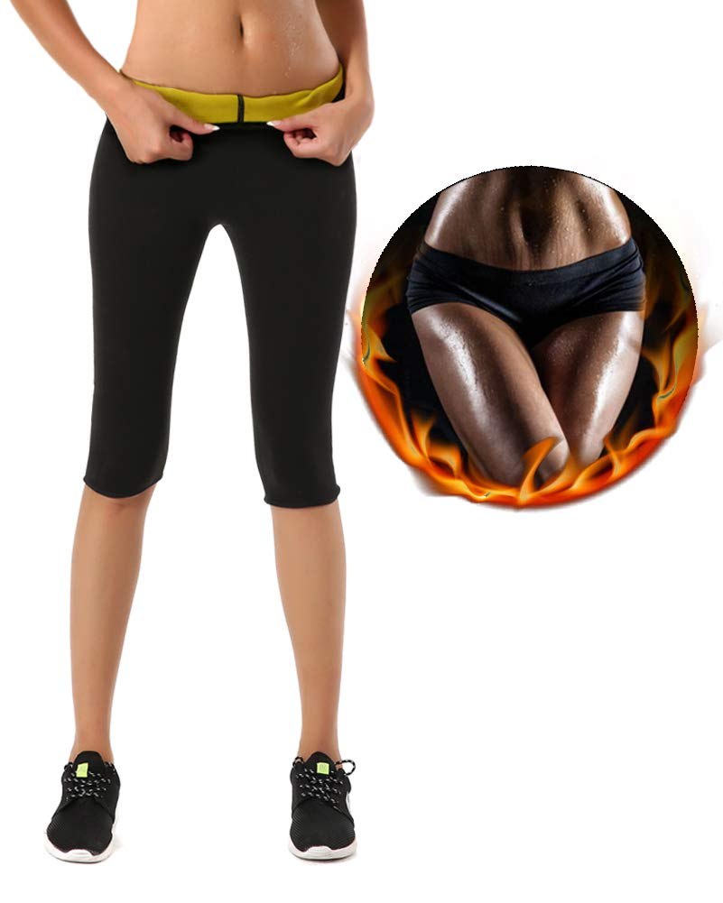 HAMACTIV Hot Shapers Weight Loss Slimming Yoga Sports Short Pants, Diving Material Slimming Pants Hot Thermo Fitness Sweat Sauna Neoprene Body Leggings Body Shapers Trousers (Yellow/Black, S)