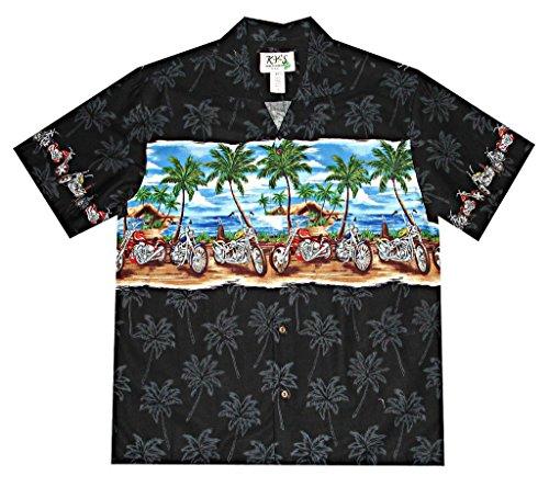 KY Men's Summer Motorcycles Cotton Hawaiian Shirt Black Small (Hawaiian Motorcycle Shirt)