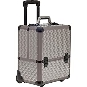 SUNRISE Makeup Case on Wheels C6033 Artis Professional Storage, 8 Trays with Adjustable Dividers, Gray Diamond