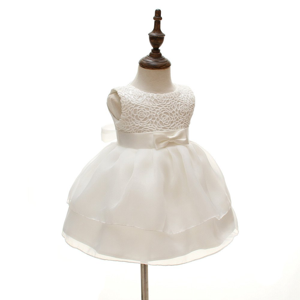 Baby Girls Dresses Christening Wedding Pageant Bow Formal Dress Ivory white (3M/0-6months) by Meiqiduo (Image #2)
