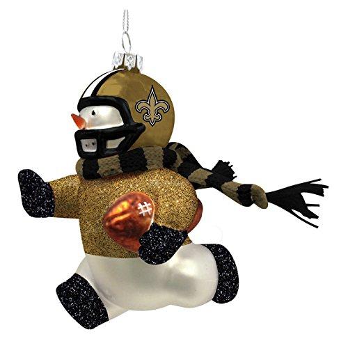 New Orleans Saints Glass Snowman Player Christmas Ornament
