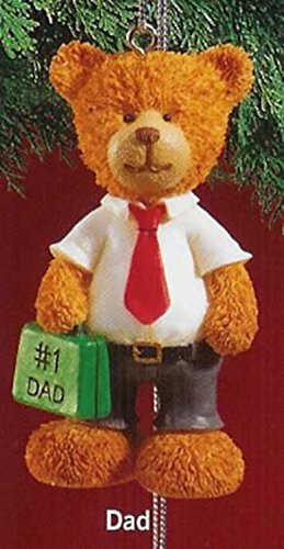 "RUSS 3"" Very Beary Christmas Ornament ""#1 Dad"""