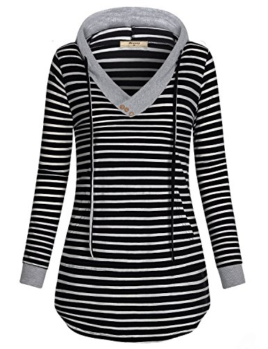 Girls Striped Hoodie - Miusey Sweatshirts for Teen Girls,Juniors Stripped Shirts Hoody Hoodies Sweat Workwear DailyWear Chic Cute Pocketed Tunic Blouses Tops Extra Long Curved Hem Black and White Stripe S